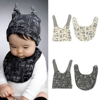 Cute Kids Baby Cotton Saliva Lunch Bib Cotton Scarf and Cat Pattern Hat Cap  - Free Shipping