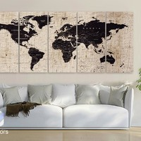 "XLARGE 30""x 70"" 5 Panels 30""x14"" Ea Art Canvas Texture Print Map World Cities Push Pin Travel Wall Brown beige decor Home interior (framed 1.5"" depth)"
