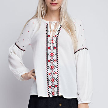 Rose Embroidered Peasant Top