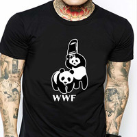 WWF WWE Panda HND Mens T-shirt Black and White