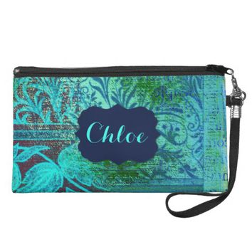 Teal And Blue Abstract Floral Swirls Frame Name Wristlet Purses