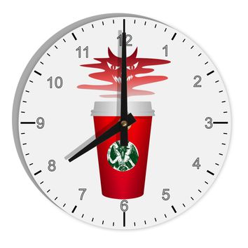 "Red Cup Satan Coffee 8"" Round Wall Clock with Numbers by TooLoud"