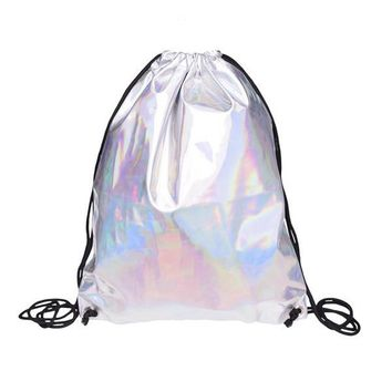 Silver Hiking Gym Bag Backpack School Book bags holo graphic smooth String Bag
