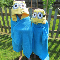 Children's Minion Hooded Towel by MadeByMamaBear on Etsy