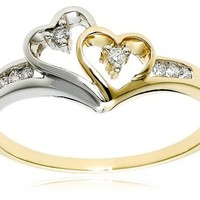 14K Yellow Gold and White Gold Diamond Heart Ring, Size 8 (1/10 cttw)