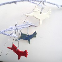 Christmas Ornaments, Set of 3, Reindeer,Blue,White,Rust