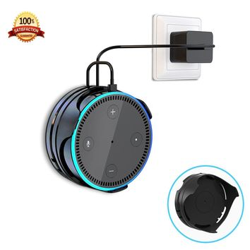 [Upgraded] Echo Dot Wall Mount Hanger Stand IMEEK Stick-on Anywhere Dot Holder with Cord Wrap for Dot 2nd Generation Smart Home Speaker-Black