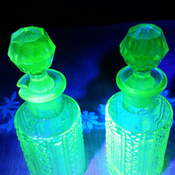 Pair of Small Antique Vaseline Uranium Perfume Bottles