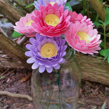 Paper Flower Bouquet - 6 Pink and Purple Daisies - Handmade Paper Flowers for Brides, Weddings, Showers, Birthdays