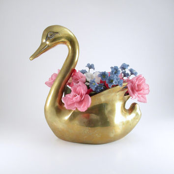 Large Brass Swan Planter, Vintage Solid Brass Goose or Swan, Vanity Decor, Bathroom Decor, Brass Flower Vase, Sewing Caddy, Gold Home Decor
