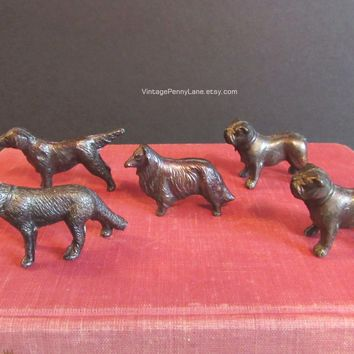 Vintage Miniature Dog Figures / Figurines, Dog Breeds, Mini Metal Dog Sculptures by JAPAN