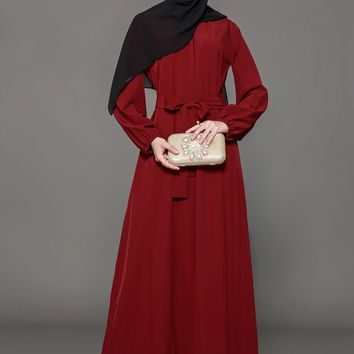 Chicloth Muslim Women Fashion Red Belt Dress