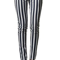 Striped Navy And White Skinny Jeans