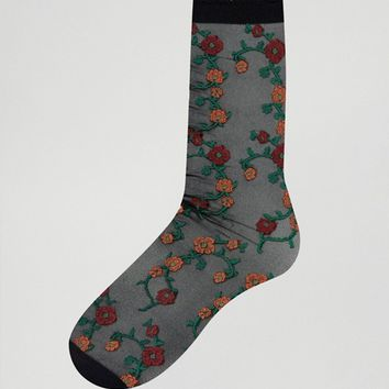 ASOS Sheer Floral Socks at asos.com