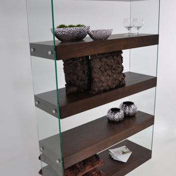 Modern Brown Floating Bookcase
