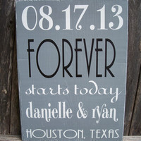 PERSONALIZED - Important Date Sign, FOREVER starts today, Wedding Gift - Special Date, Wedding Date