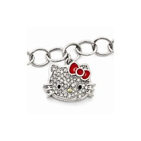 Sterling Silver Hello Kitty Crystal/enamel Red Bow Collection Bracelet