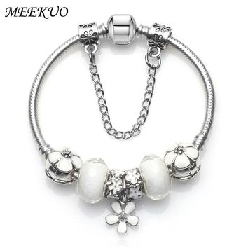 2017 Fashion Women Bracelet 925 Unique Silver Crystal Bead Charm Bracelet For Women Fine Jewelry pandora Bracelets Gift