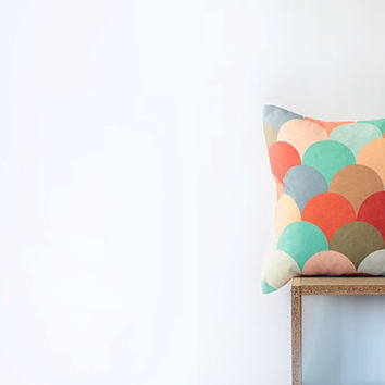 "Colorful Geometric Cotton Pillow Cover with Peach, Mint, Cream, Blue, Tangerine, Lavender, Taupe, Brown Circles - 18""x18"" Cushion Cover"