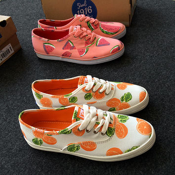 Fashion Fruit Print Canvas Flats Sneakers Sport Shoes