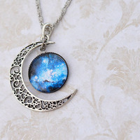Blue Moon Galaxy Space Nebula Glass Cabochon Pendant Necklace