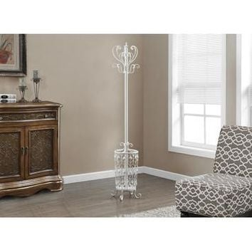 Monarch Specialties Antique White Metal Coat Rack I-2043
