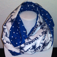 Dallas Cowboys Infinity Scarf - Blue Polka Dot Flannel Sewn Shawl - NFL Football - Fashion Cowl