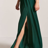 Satin M-Slit Maxi Skirt