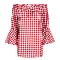 Red Off Shoulder Check Print Tie Up Front Flare Sleeve Dress