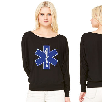 Star of Life  EMT Symbol women's long sleeve tee