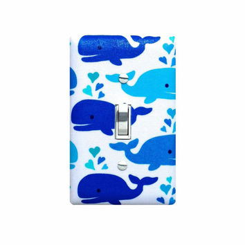 Whale Light Switch Plate Cover / Baby Boy Girl Gender Neutral Nursery / Nautical Bathroom Cute Whales White Blue / Kids Bathroom Under Sea
