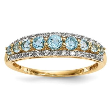 14k Yellow Gold Graduated Light Swiss Blue Topaz & White Topaz Ring