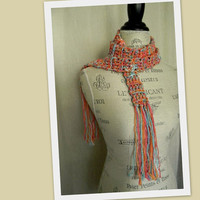 Summer Boucle Crochet Skinny Scarf - s071 Ready to Ship