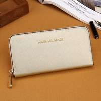 Michael Kors MK Zipper bag Women Leather Purse Wallet