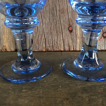 "2 retro spring glassware, vintage Libbey Sirrus Misty Blue 7"" ribbed wine goblets, vintage blue glassware, light blue glasses, water  goblet"