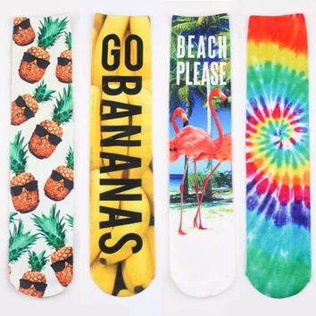 Creative Funny Socks Double-sided 3D Printing Banana Pineapple Flamingo Dollar High Socks Hipster Harajuku Cotton Art Socks 42cm