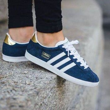 LMFUX5 Best Online Adidas Originals Wmns Gazelle OG Night Indigo/Footwear White/Gold Metallic Sneakers Classic Casual Shoes - S78875