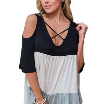 Black Color Block Criss Cross V Neck Cold Shoulder Top