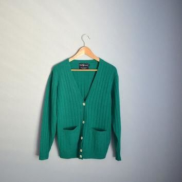 Vintage 80s Kelly Green RALPH LAUREN lambswool Cardigan Sweater // womens small medium