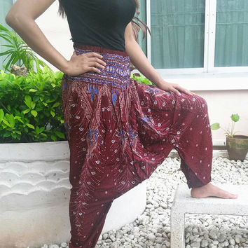 Red Jumpsuit & Pants Peacock Aladdin Drop Crotch Yoga Beggy Harem Printed Sarongs Tribal Hippie Rayon pants Gypsy Thai Handmade Plus Size