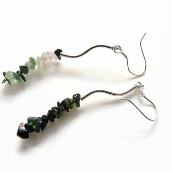 Green tourmaline earrings, handmade dangle beadwork gemstone earrings of tourmaline, silver, 925 silver earhooks: Florencejewelshop