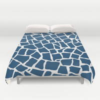 Mosaic Zoom Navy Duvet Cover by Project M | Society6