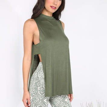 Open Side Slit Sleeveless Top OLIVE | MakeMeChic.COM