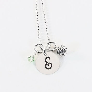 Personalized Sterling Silver Volleyball Initial Charm Necklace with Sterling Silver Volleyball Charm and Swarovski Crystal Birthstone