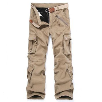 Winter Men's Trousers High Quality Men's Cargo Pants Casual Mens Pant Multi Pocket Military Tactical Thick Warm Trousers Man