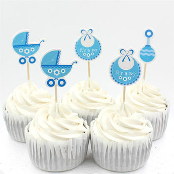 Baby Wagon Party cupcake toppers picks decoration for Kids Birthday party Baby Shower Cake favors Decoration supplies