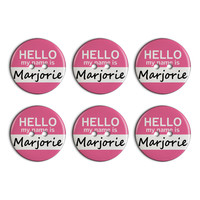 Marjorie Hello My Name Is Plastic Resin Button Set of 6