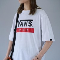 Vans Tide brand couples cotton round neck loose half-sleeved T-shirt White