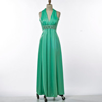 Vintage Dress 70's Slinky Art Deco Style Mint Green Goddess Jersey Evening Gown with Jeweled Bodice size Small