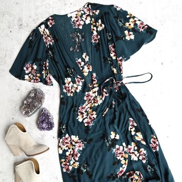 laura high-low wrap dress - floral/hunter green